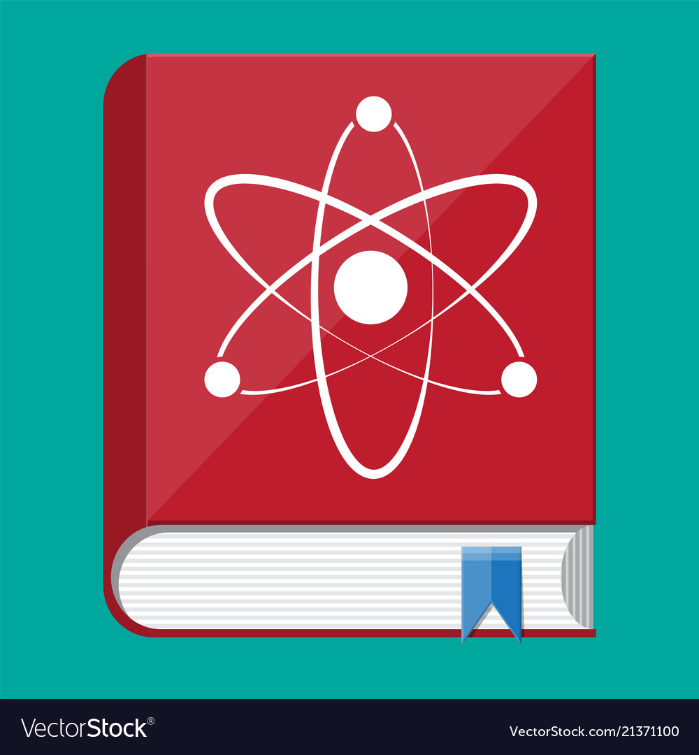 Science book and atom logo