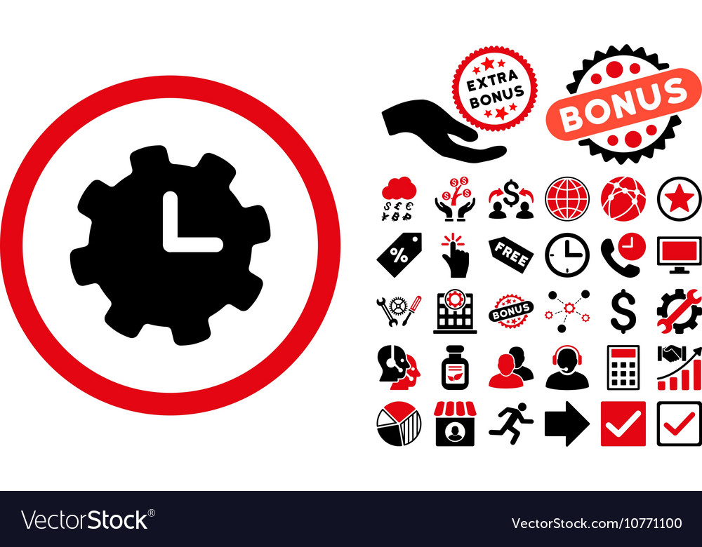 Time Settings Flat Icon With Bonus Royalty Free Vector Image