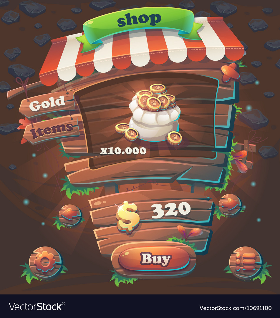 Wooden game user interface window shop vector image