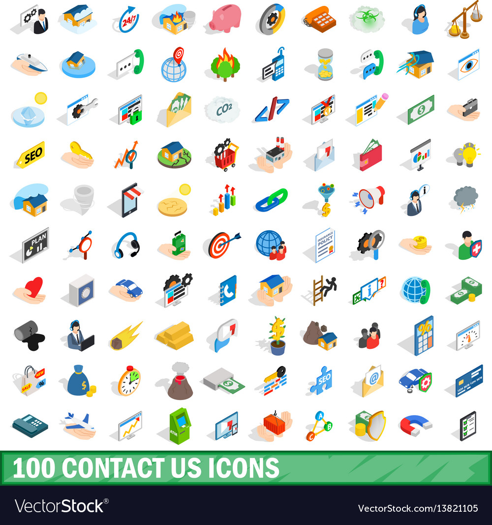 100 contact us icons set isometric 3d style