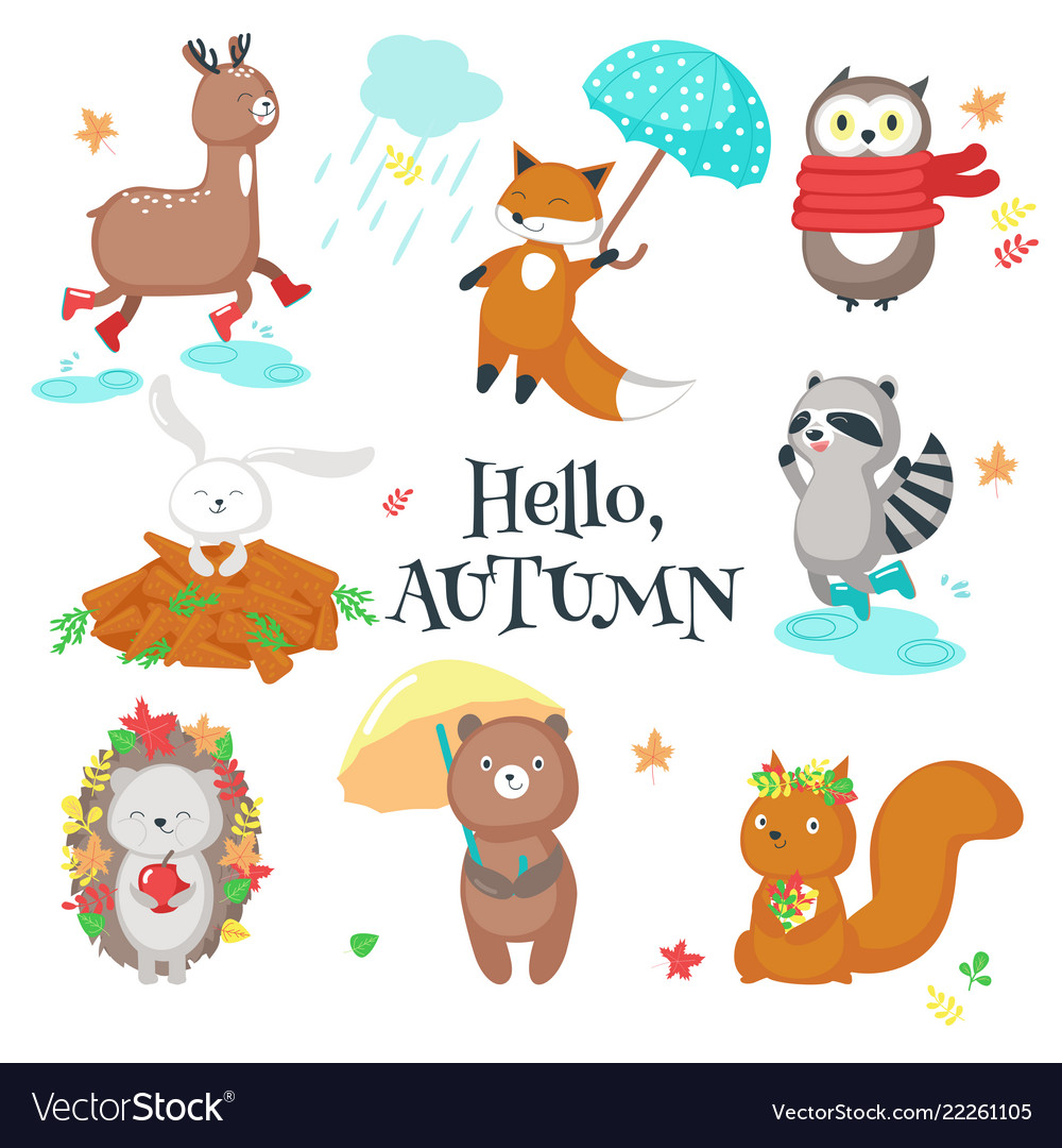 Autumn animals icon set isolated