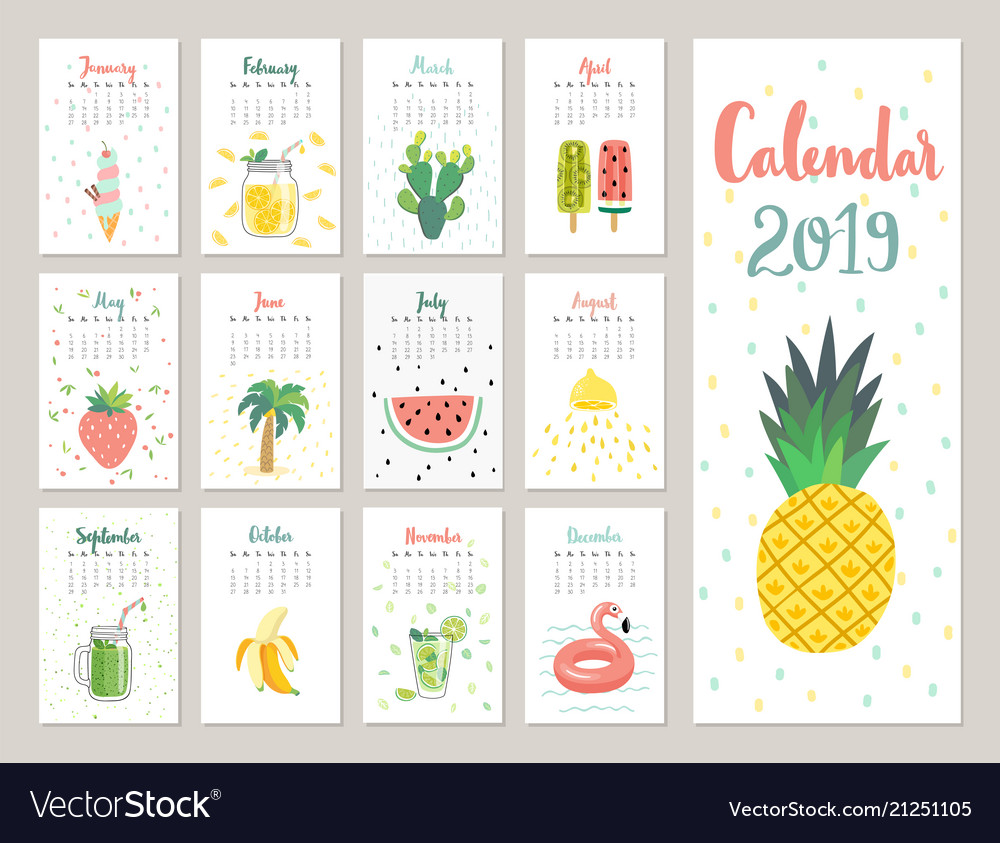 photograph regarding Cute Calendars known as Calendar 2019 adorable month-to-month calendar with