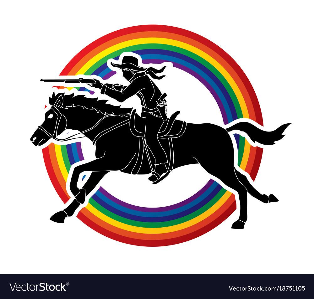 Cowboy on horse aiming rifle vector image