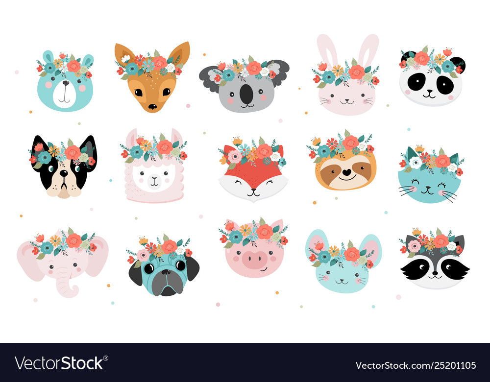 Cute foxes heads with flower crown