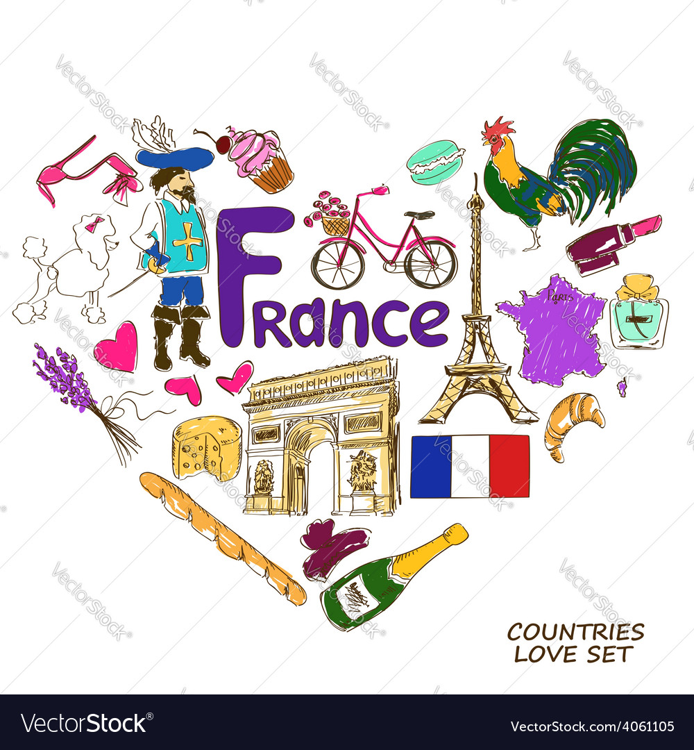 French symbols in heart shape concept
