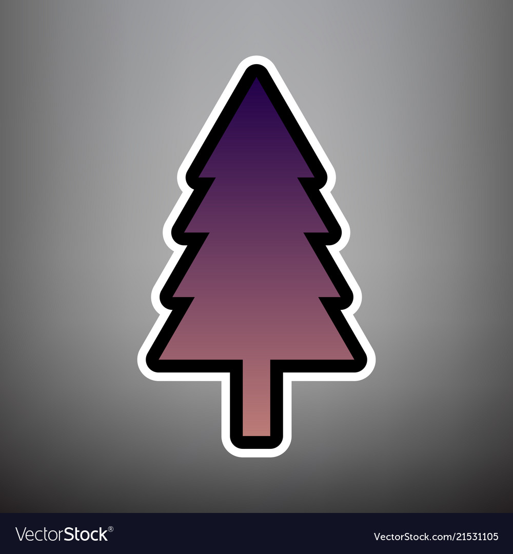 New year tree sign violet gradient icon