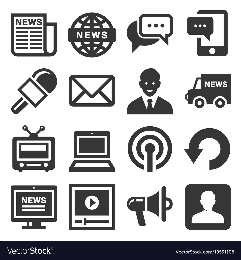 News media icons set on white background vector image