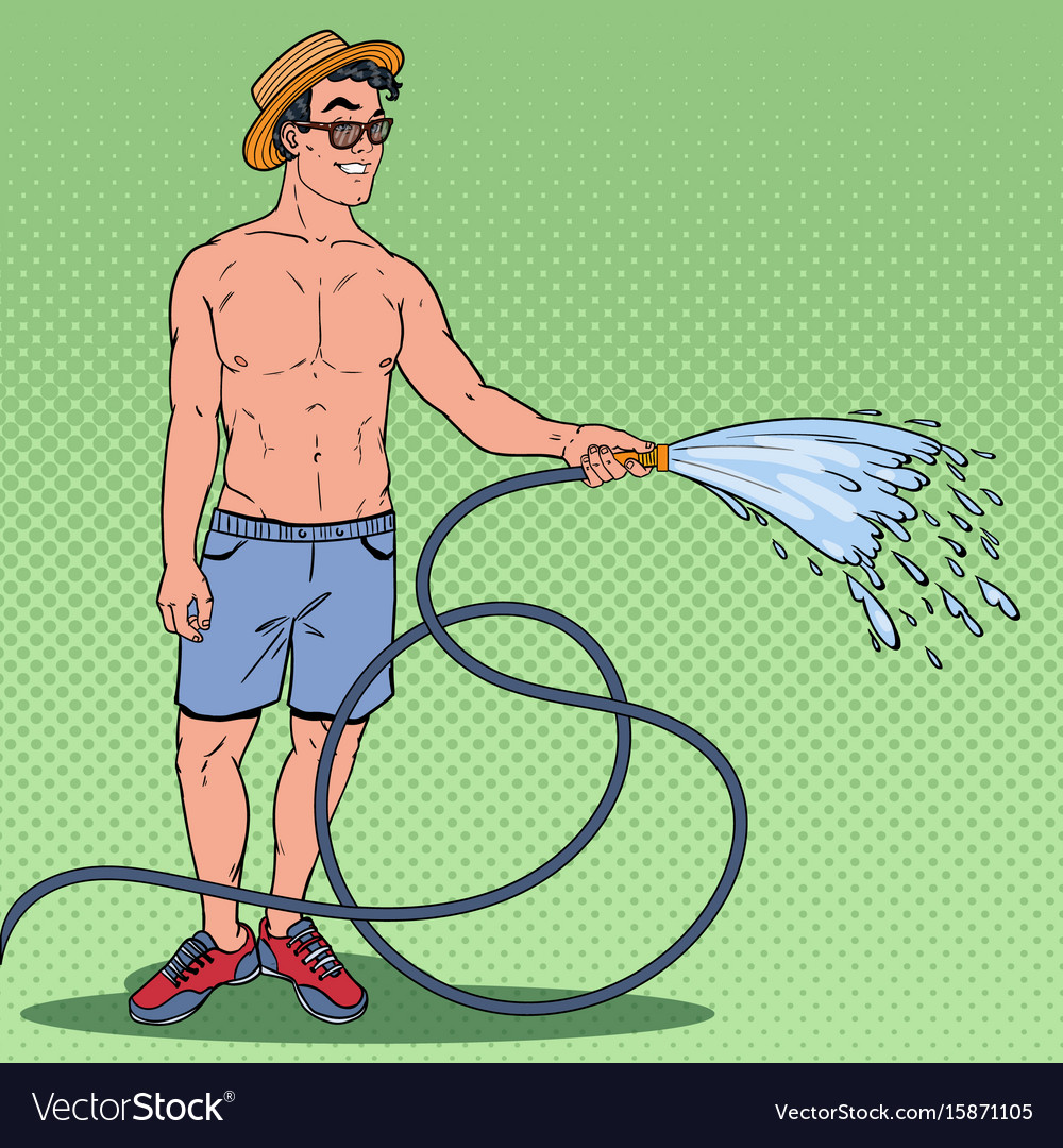 Pop art happy guy watering with garden hose