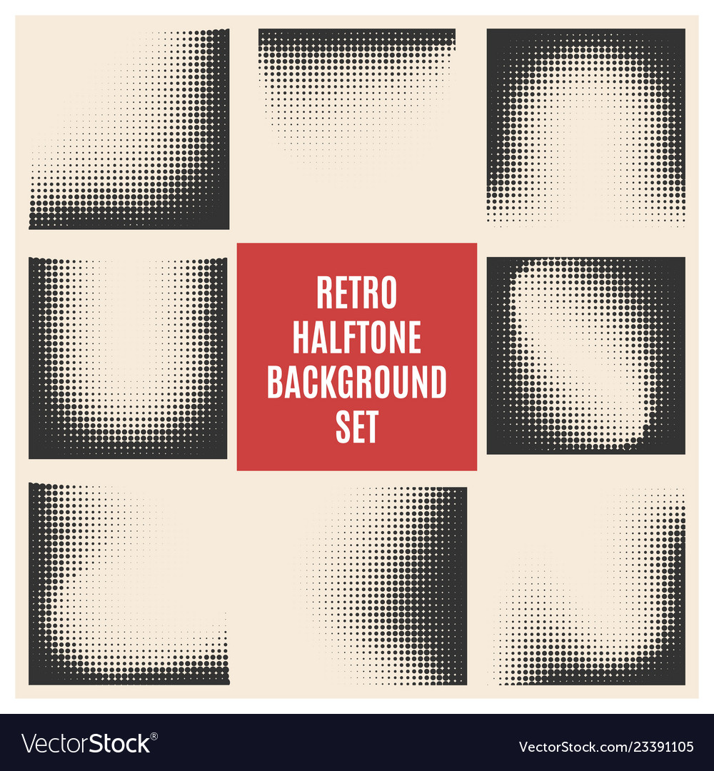 Retro halftone background set