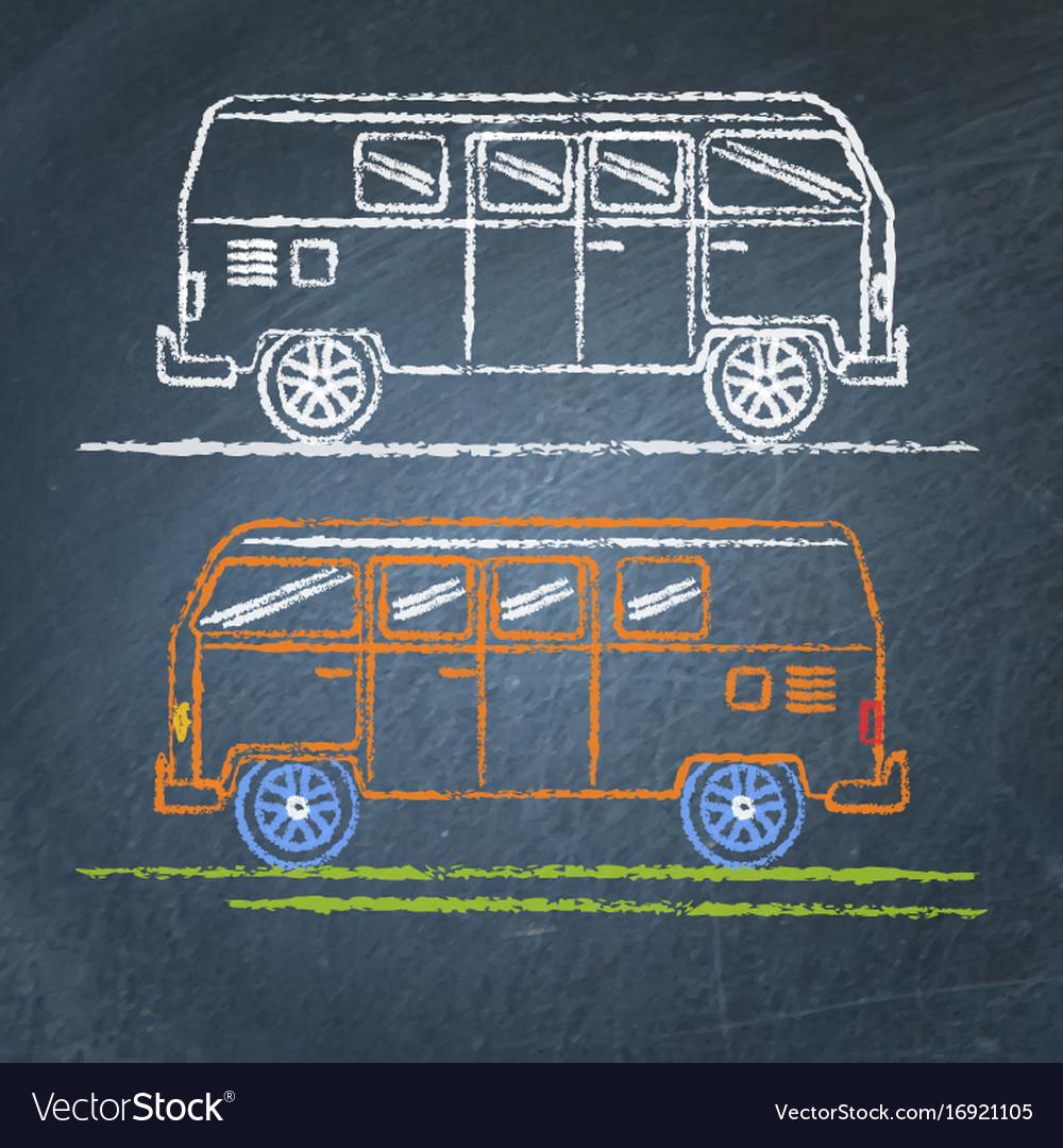 Retro minivan sketch on chalkboard