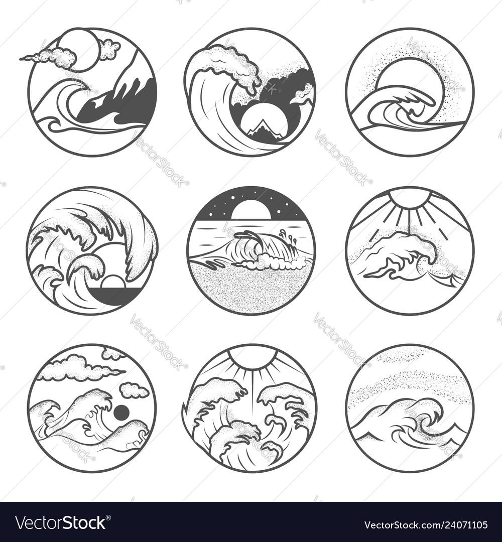 Set nine summer holidays emblems labels