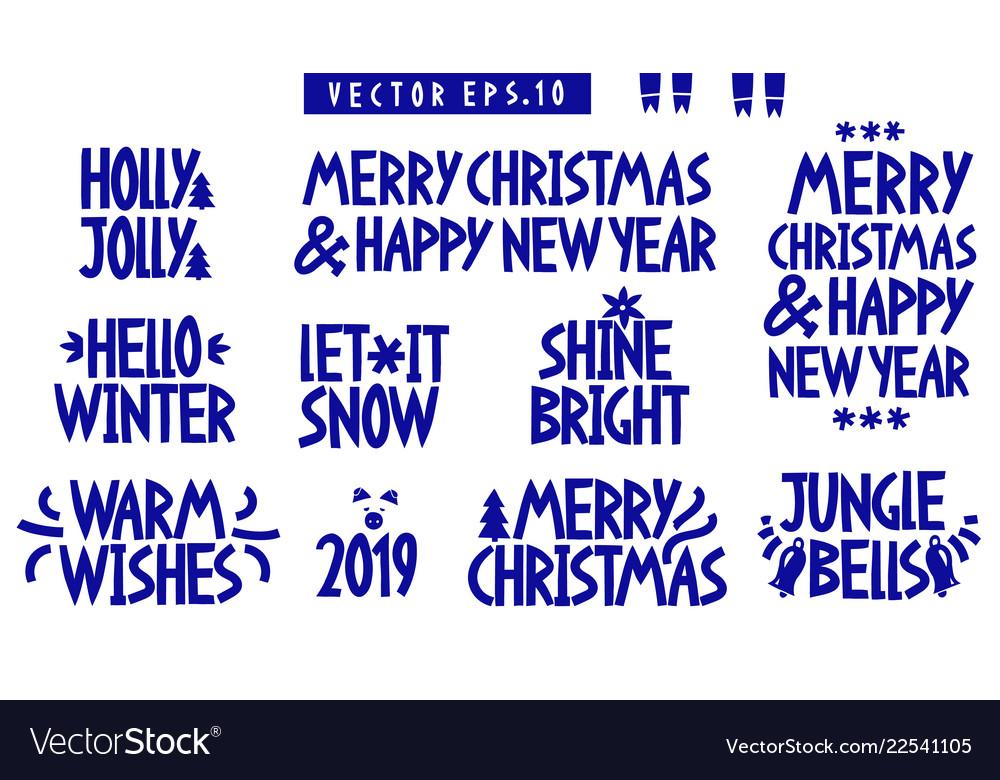 Set of christmas and new year celebration