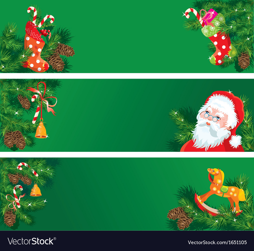 Set of Christmas and New Year horizontal banners