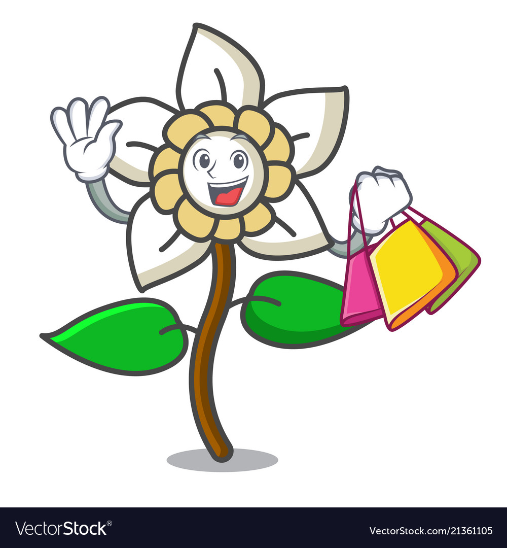 Shopping Jasmine Flower Character Cartoon Vector Image