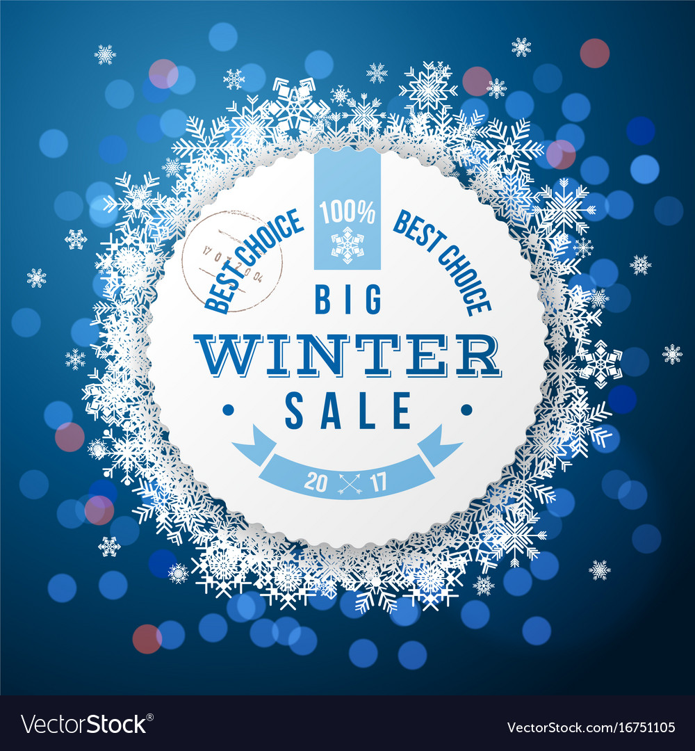 Winter background with sale round label vector image
