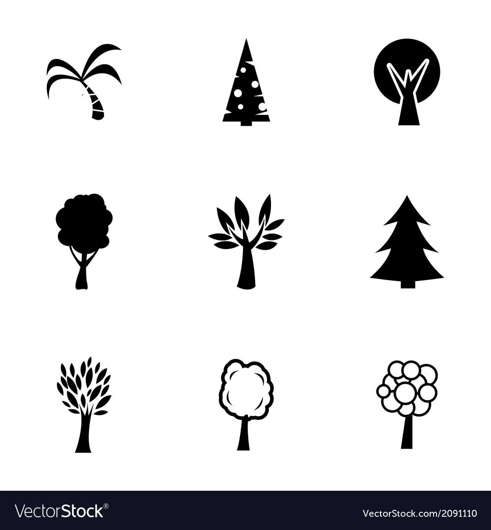 Black trees icons set