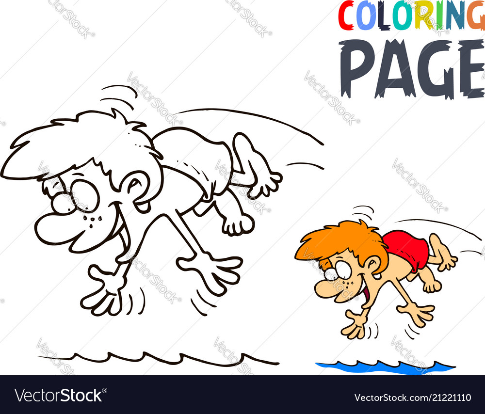 Boy splashing in water cartoon coloring page