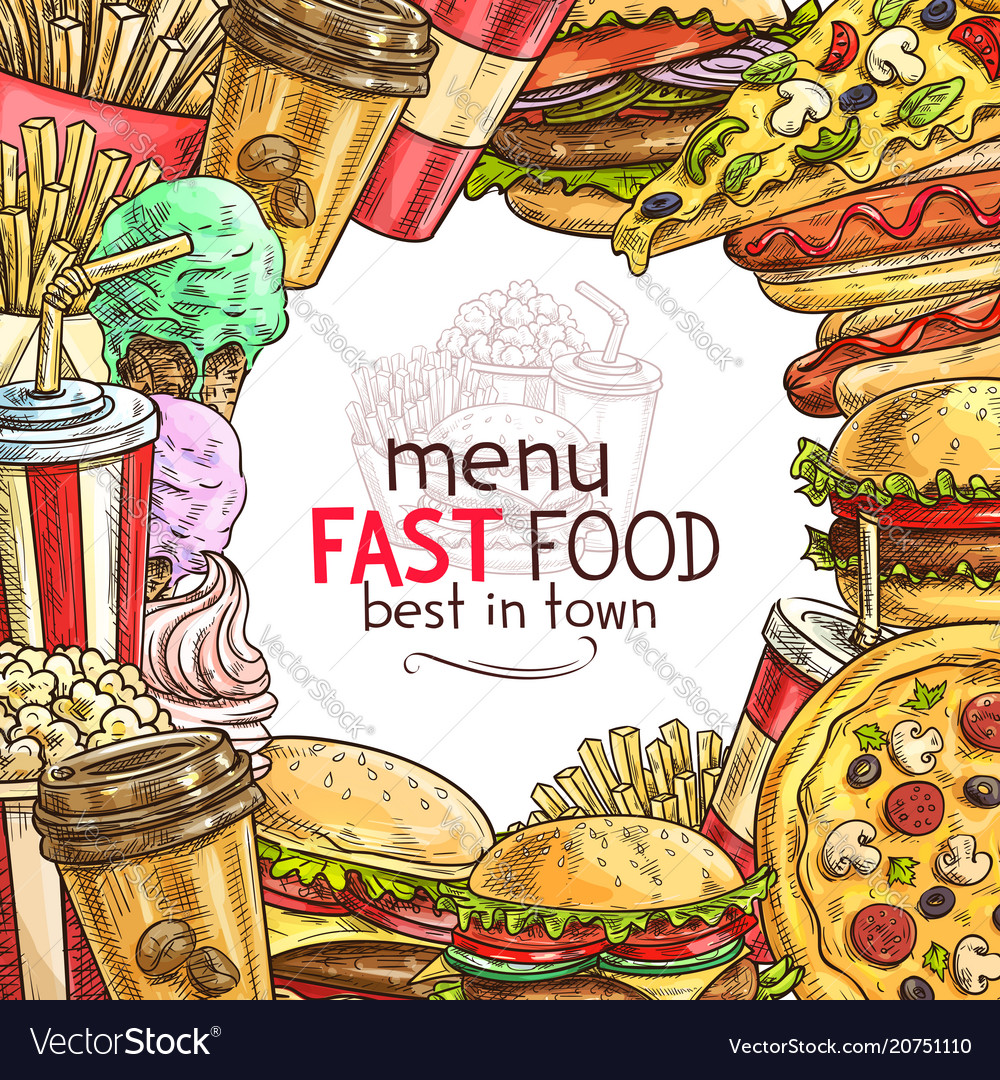 Fast food lunch dish frame for restaurant menu