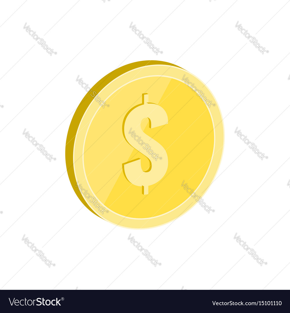 Gold coin symbol flat isometric icon or logo 3d