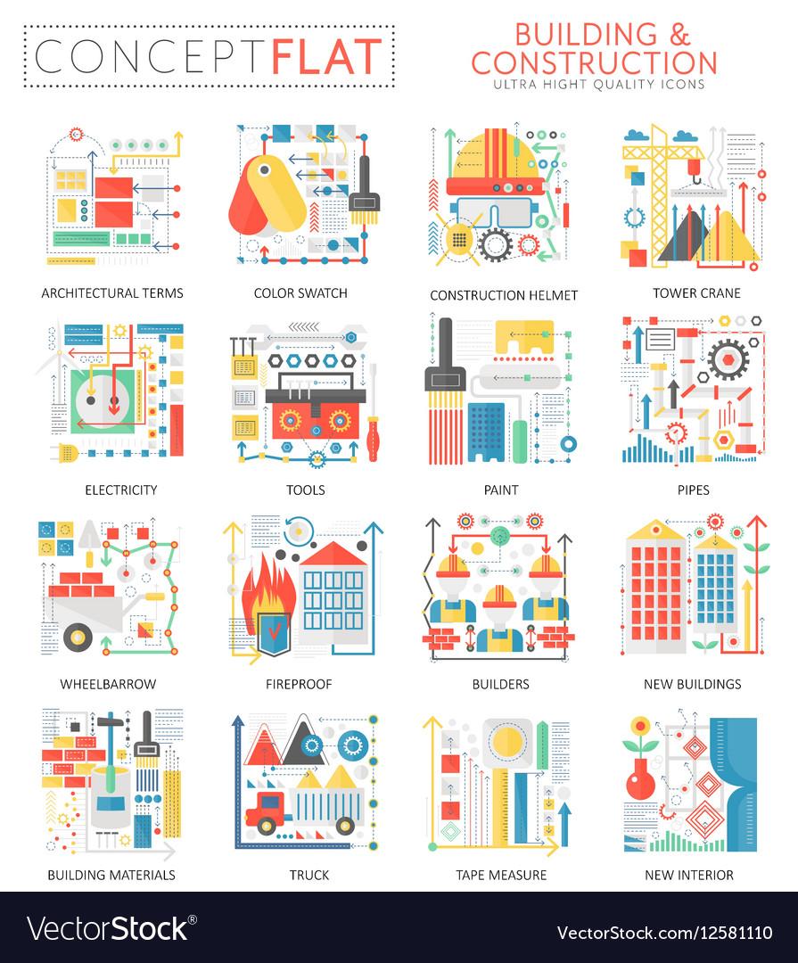 Infographics mini concept building construction