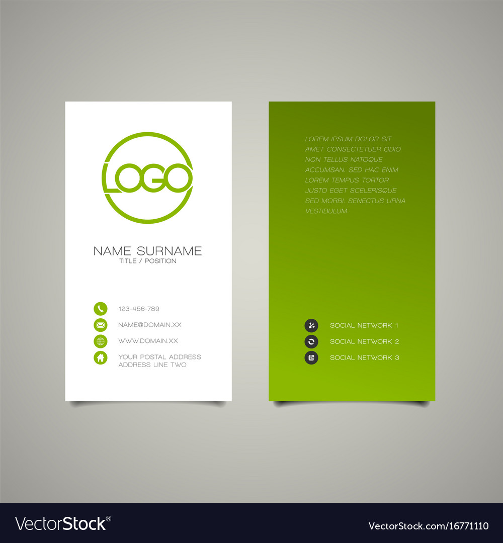 Modern simple vertical business card template vector image on VectorStock