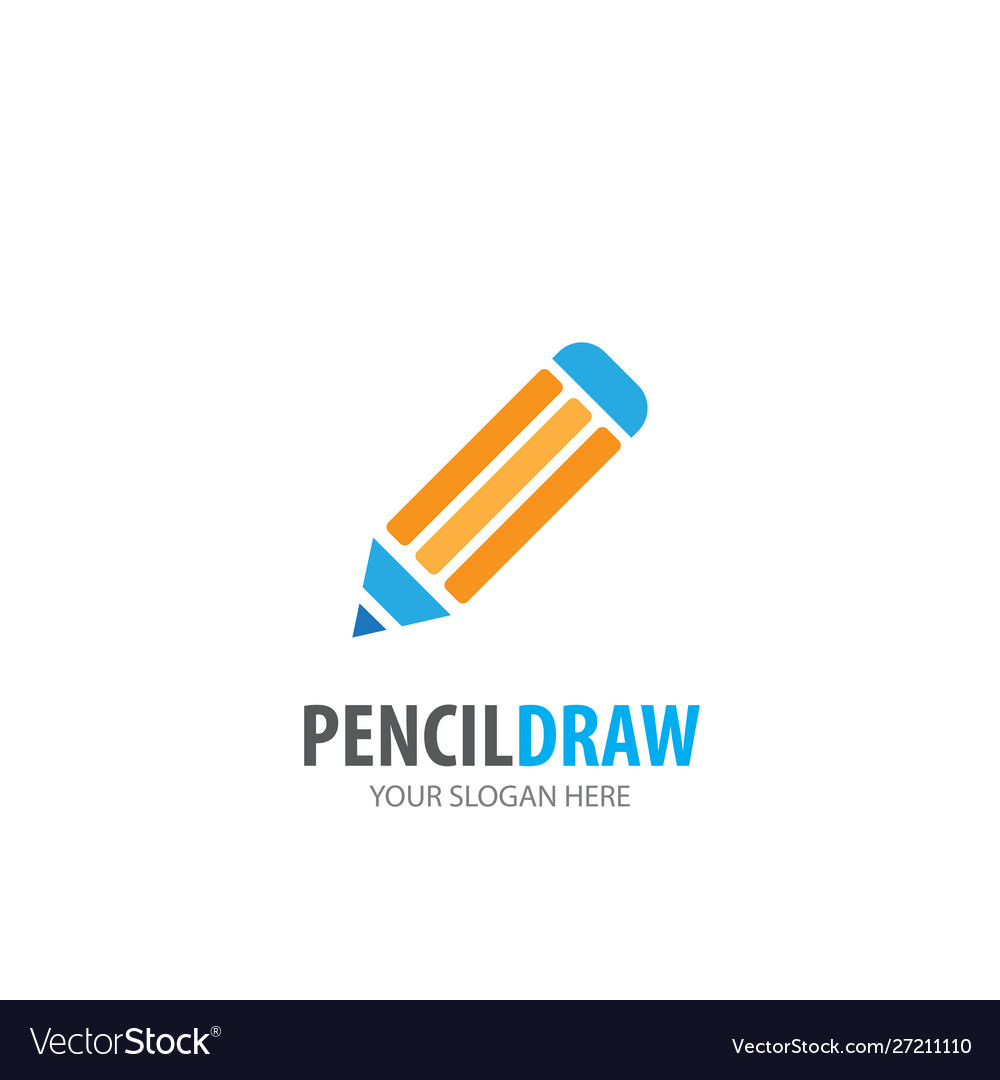 Pencil draw logo for business company simple