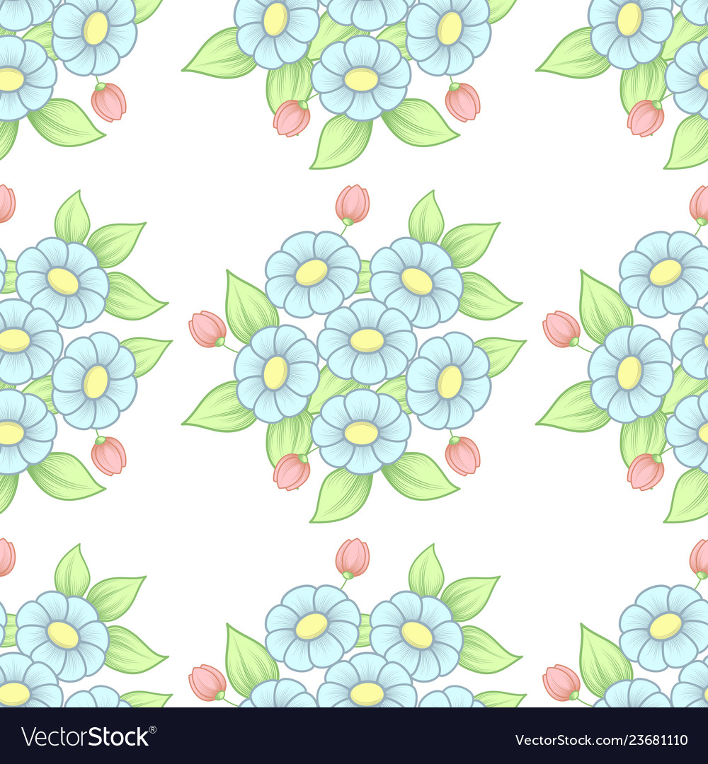 Seamless pastel flowers background
