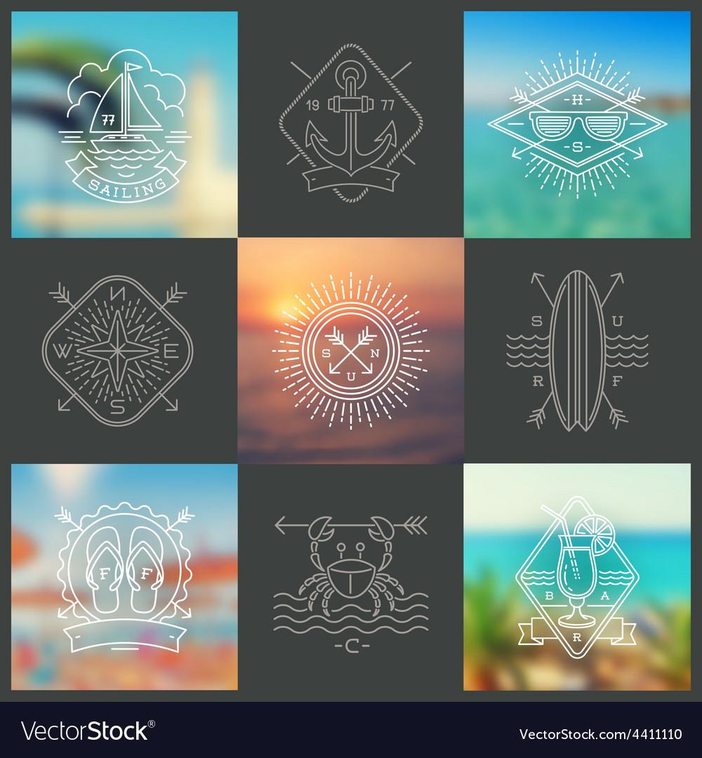 Summer holidays vacation and travel emblems