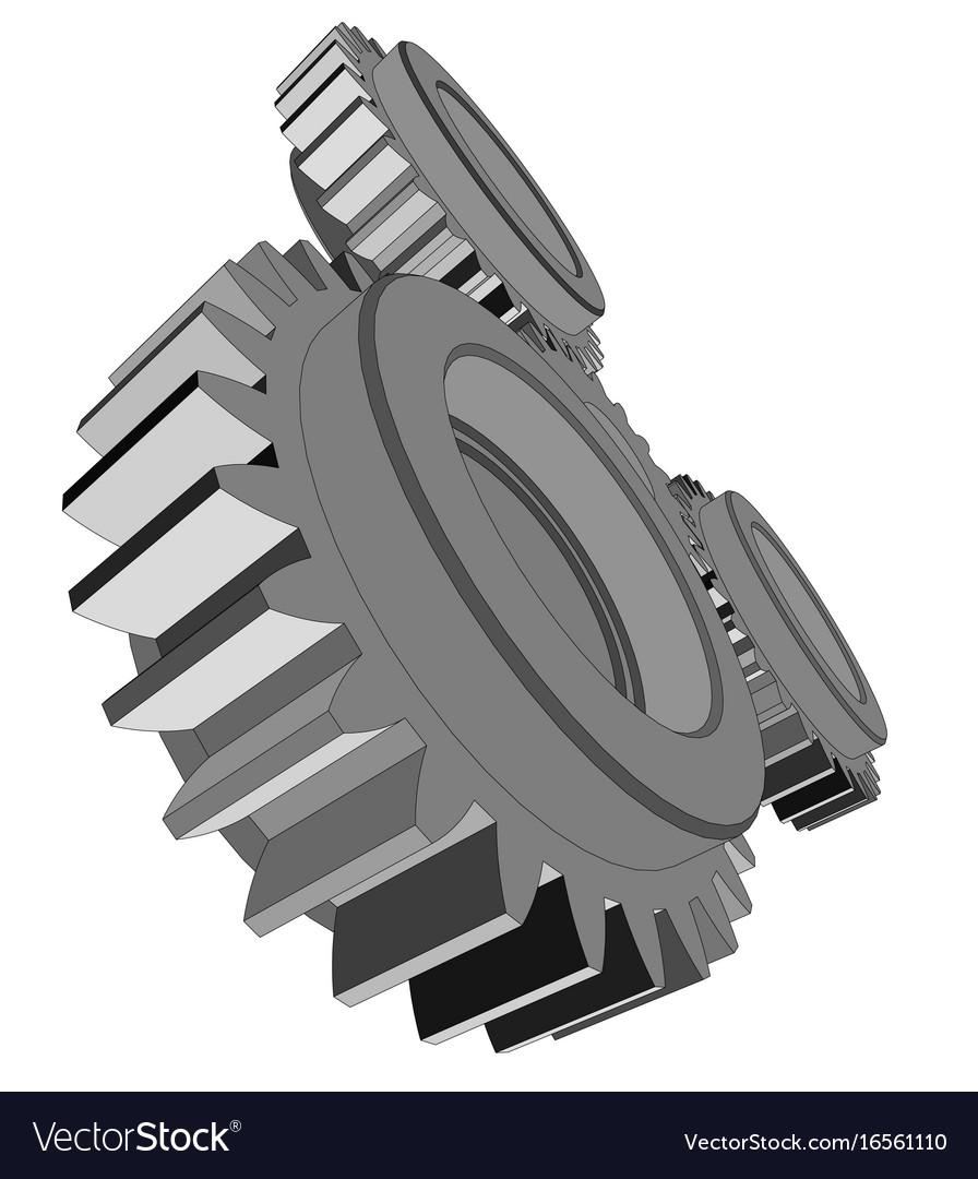 Three metal gears