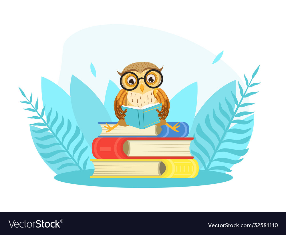 Wise owl bird character in glasses sitting on pile