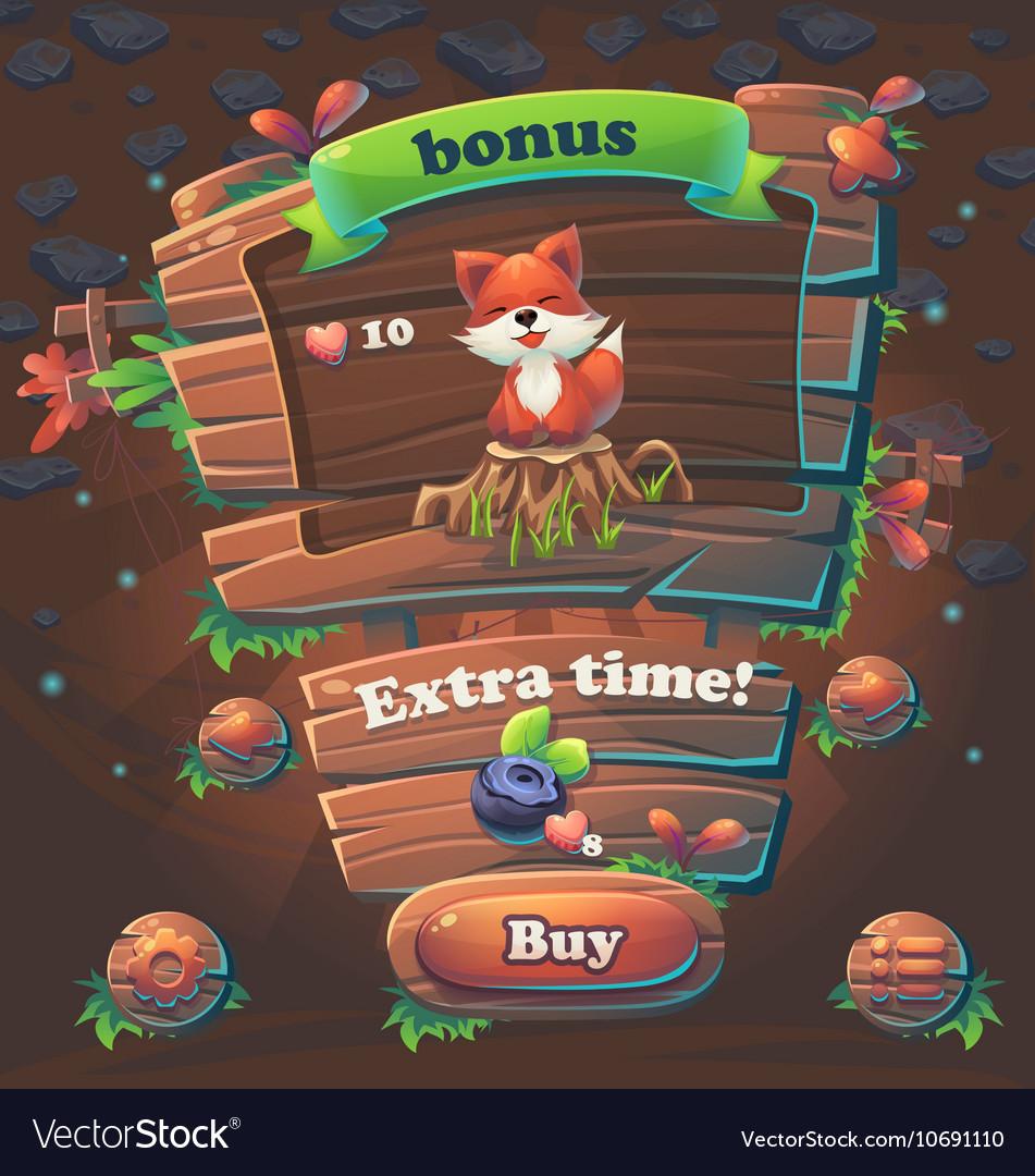 Wooden game user interface bonus window