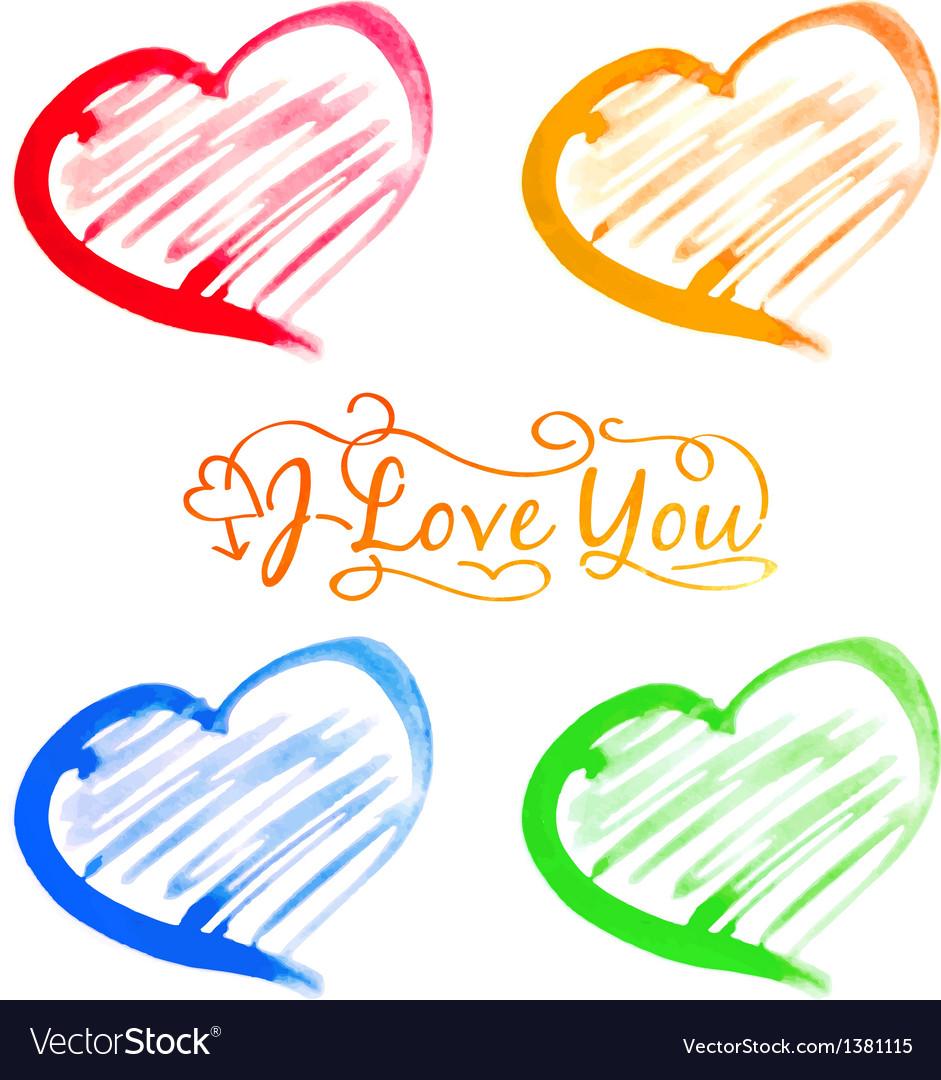 Abstract watercolor hearts set vector image