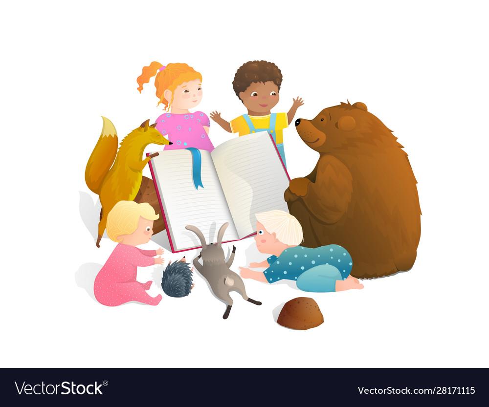 Bear fox rabbit animals reading a book with little