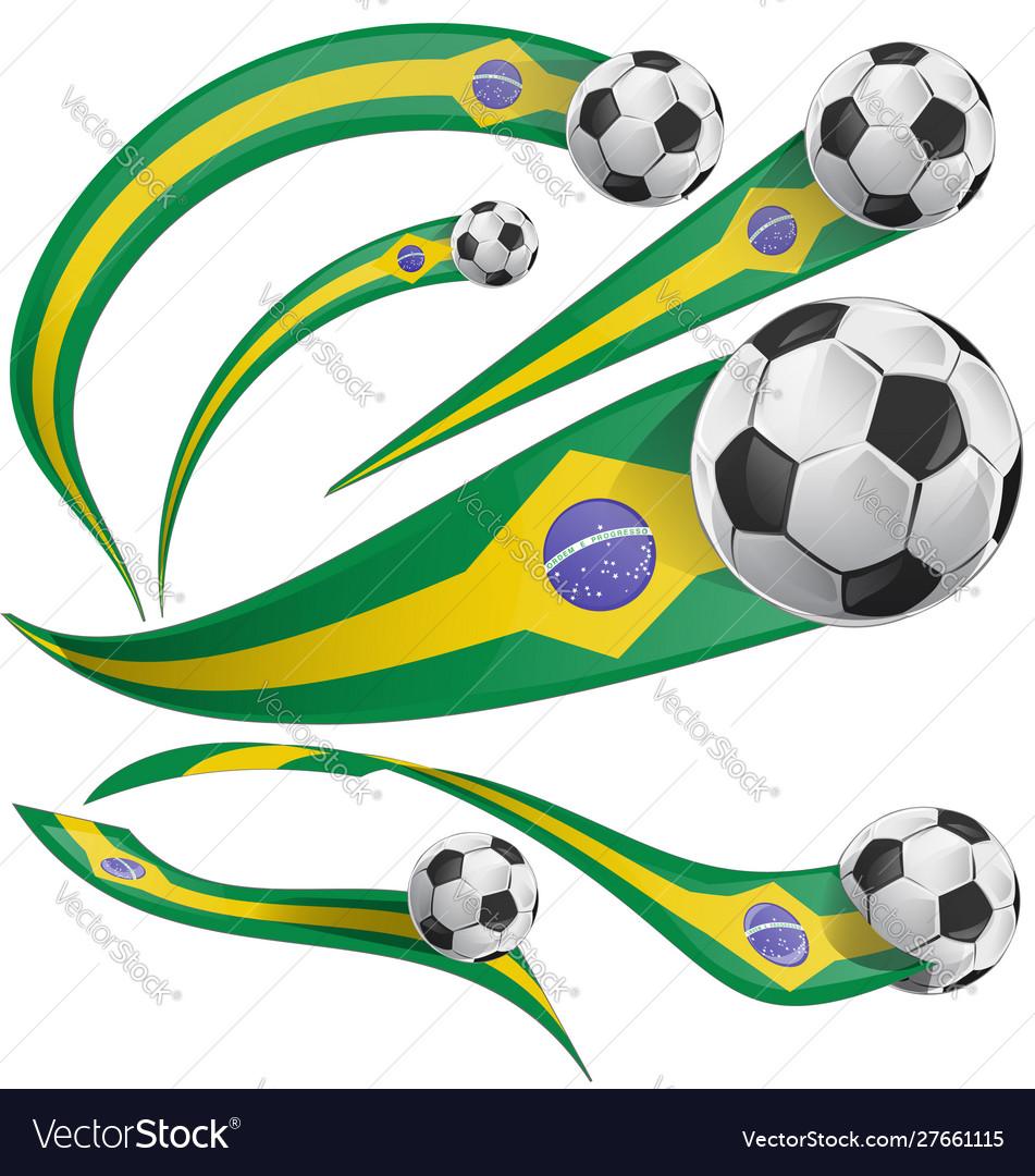 Brazil flag element with soccer ball