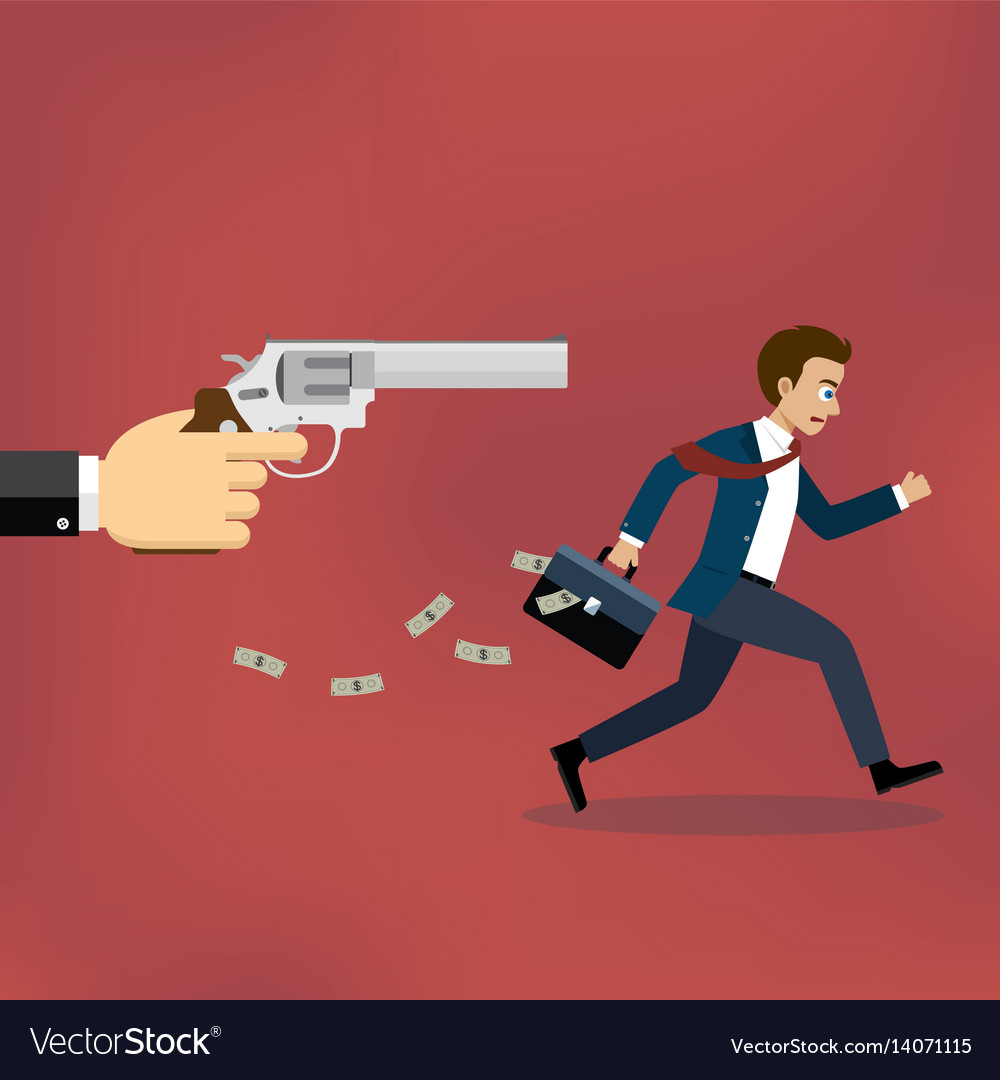 Businessman running away from gunman vector image