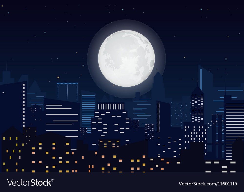 City in the night Cityscape night silhouette with