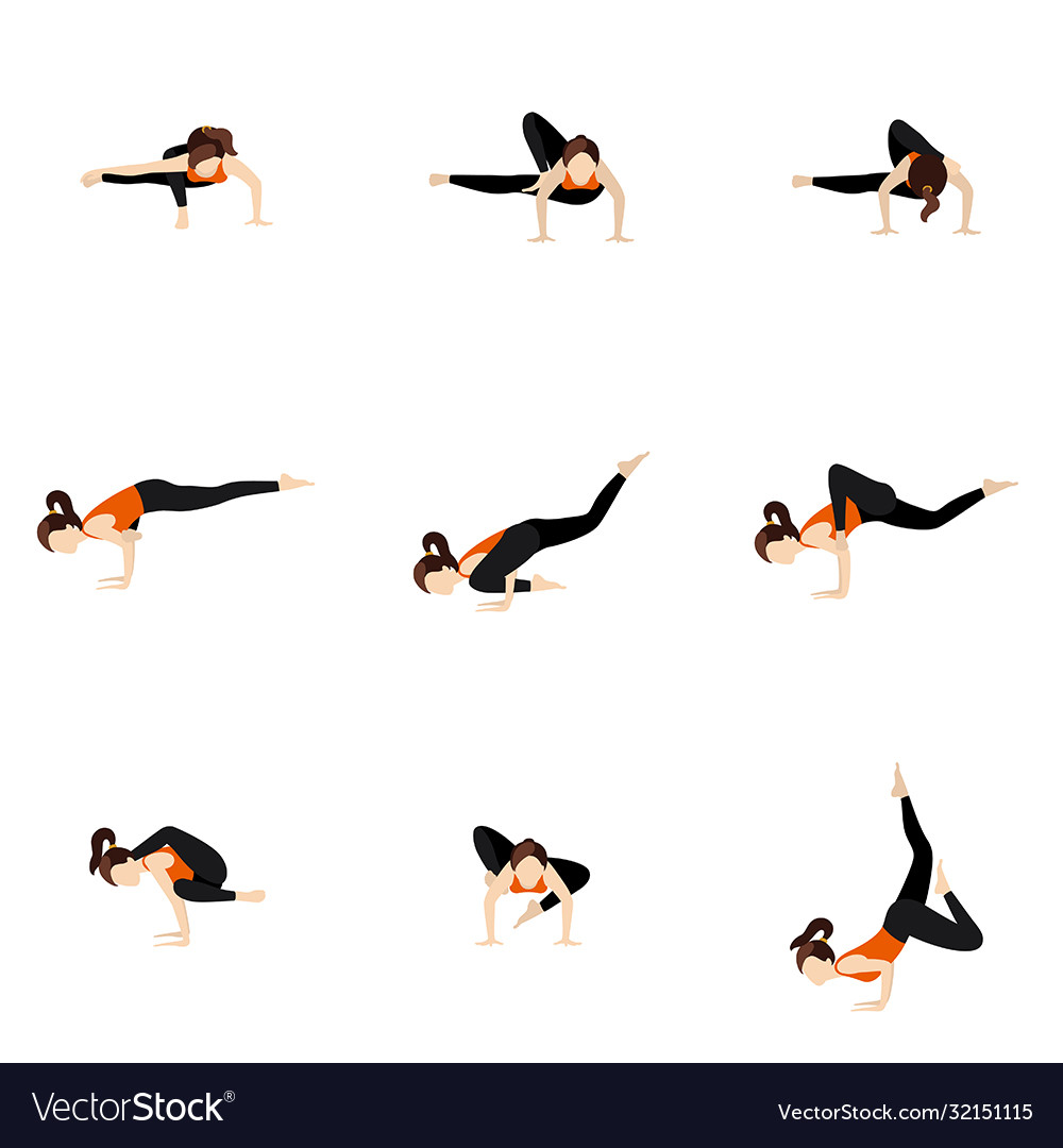 Difficult advanced arm balances yoga poses set Vector Image