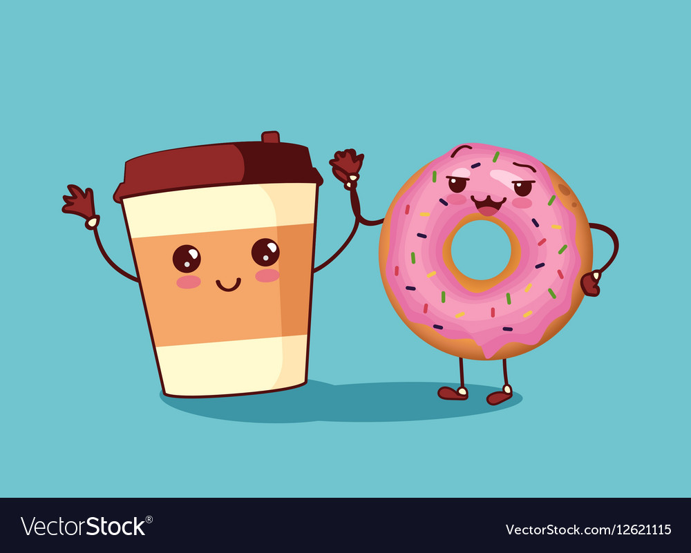 Donut and coffee characters icon
