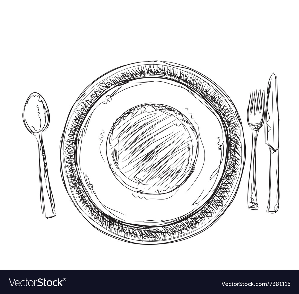 Hand drawn plate and cup vector image