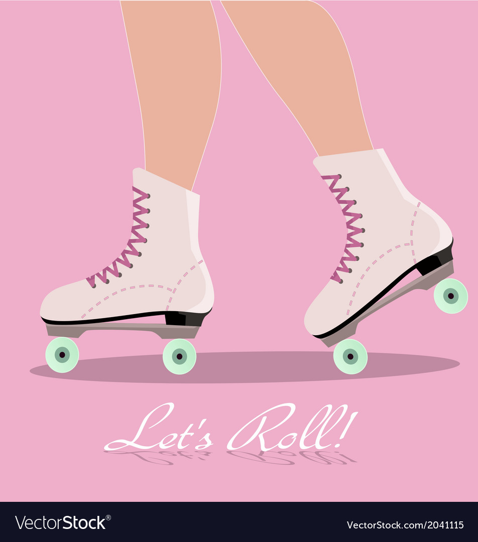 Invitation Card With Roller Skates Royalty Free Vector Image