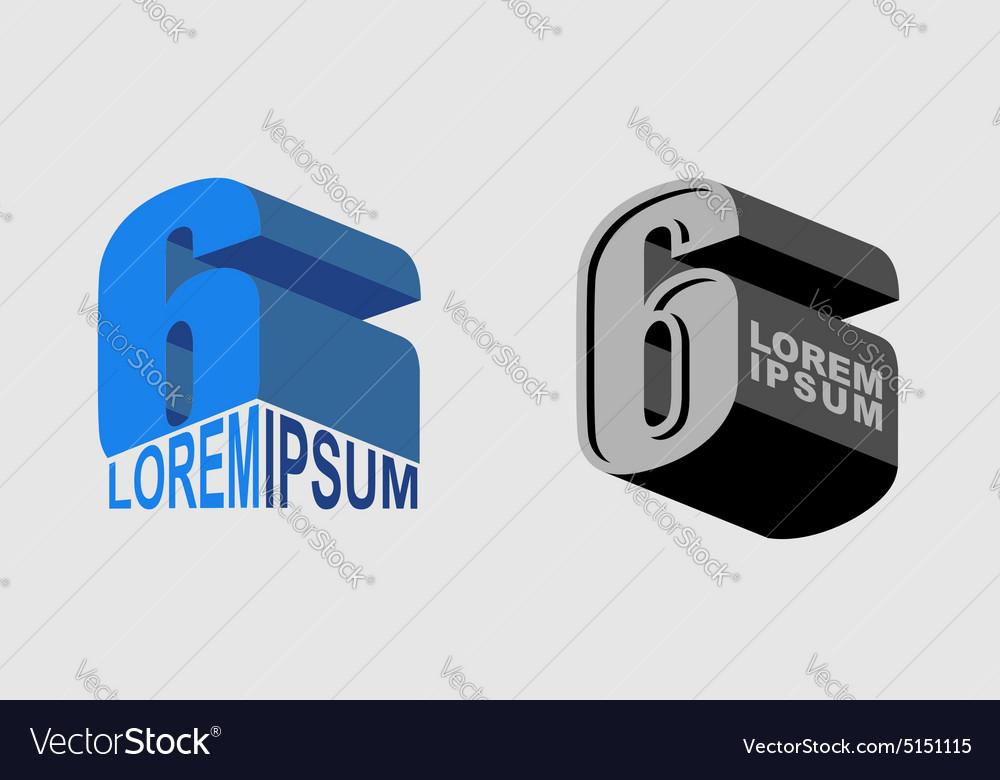 Number 6 Figure 6 Set Logo or corporate identity