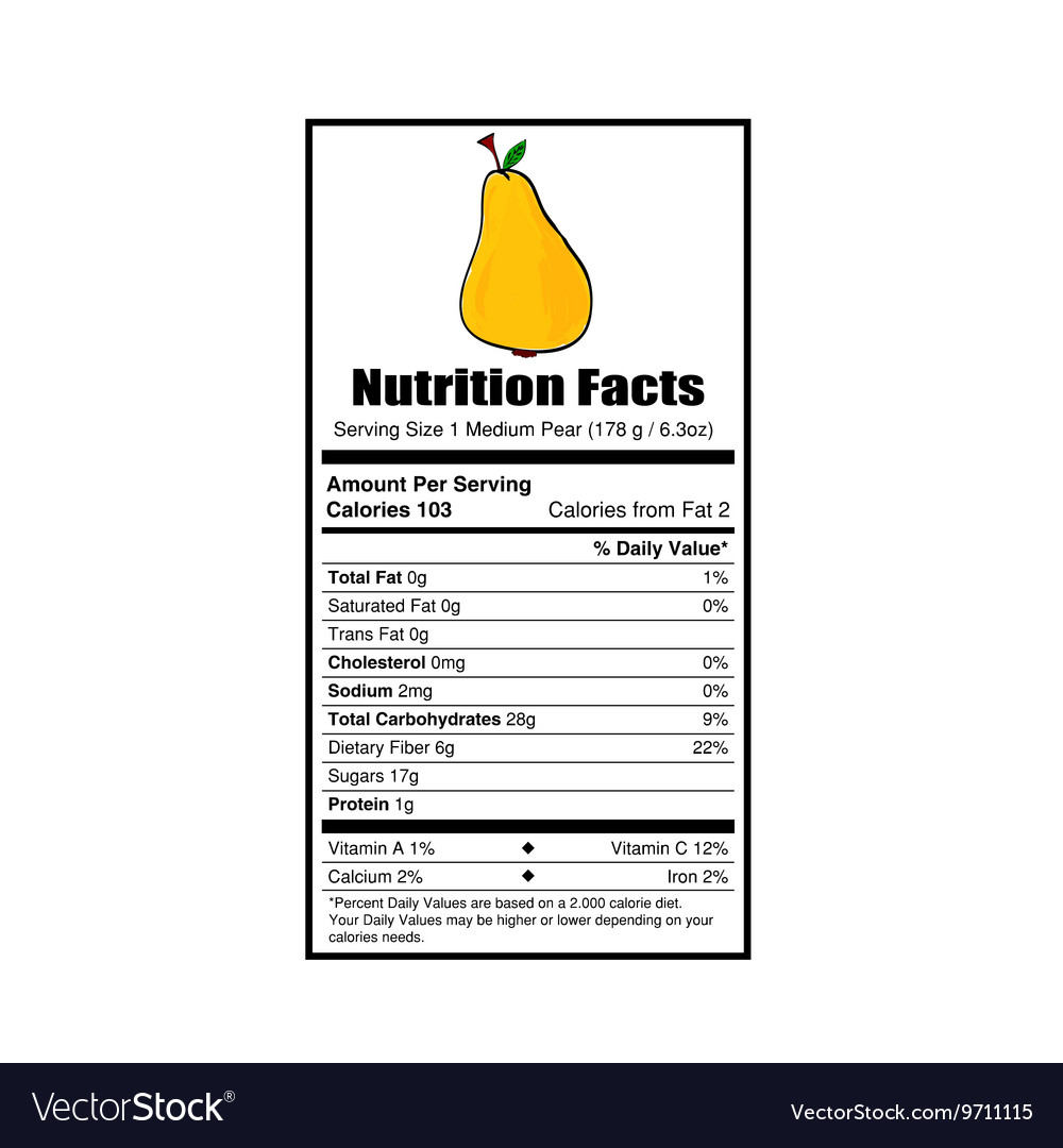 Nutrition Facts Pear Royalty Free Vector Image