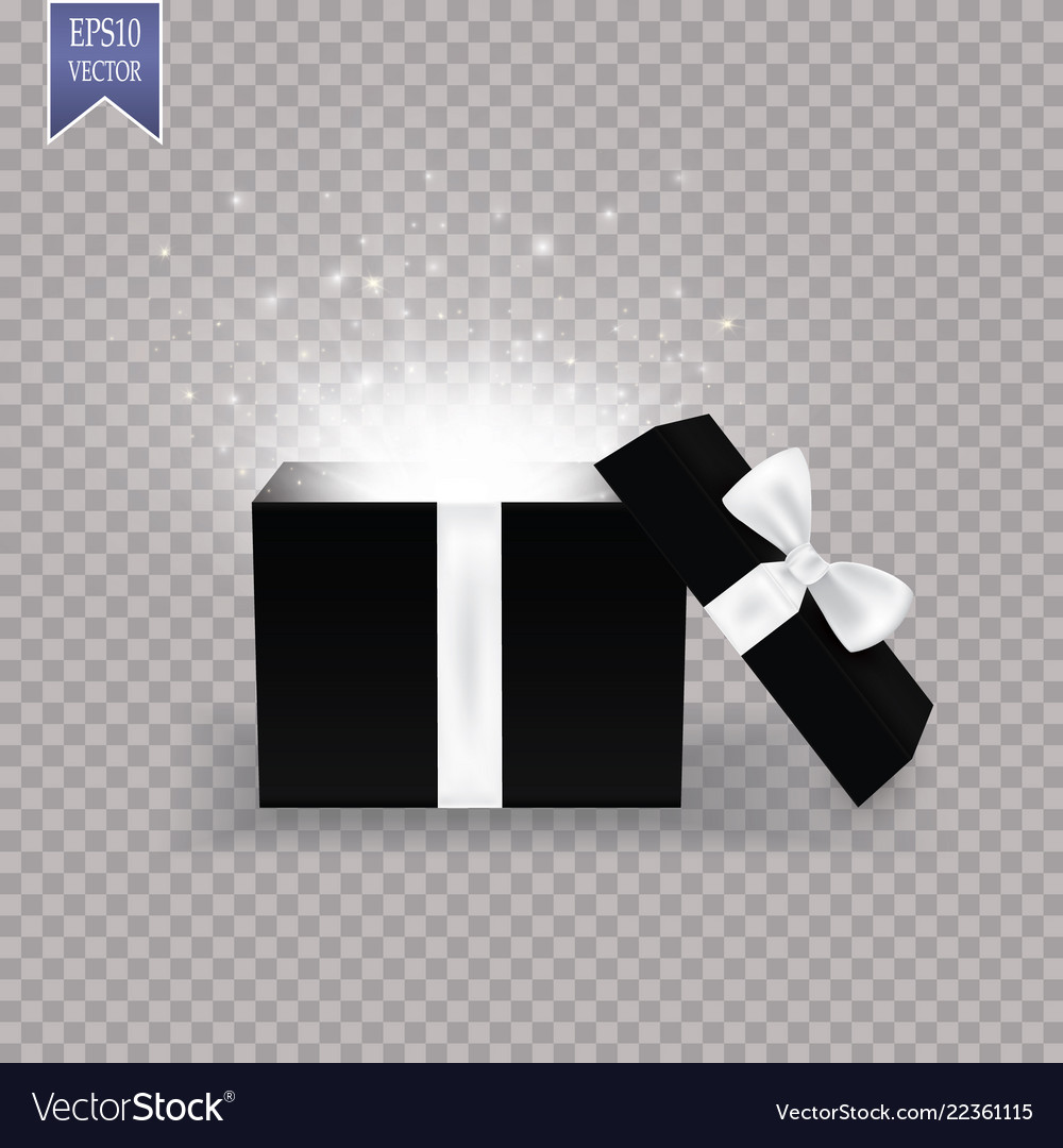 Opened gift box with white bow and abstract light