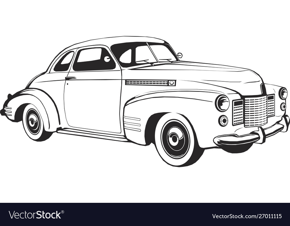 Retro car coupe classic vintage monogram