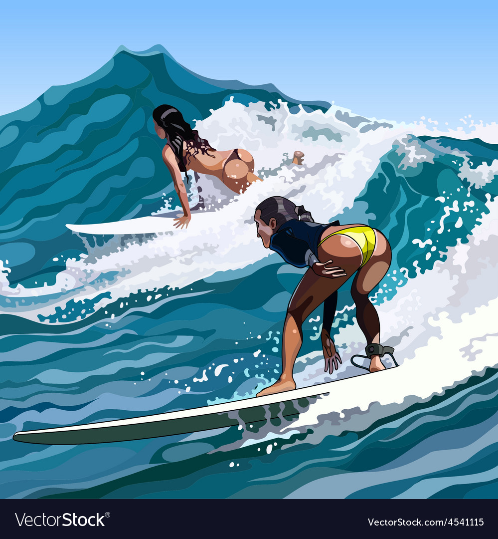 Woman Surfing On A Wave Moving