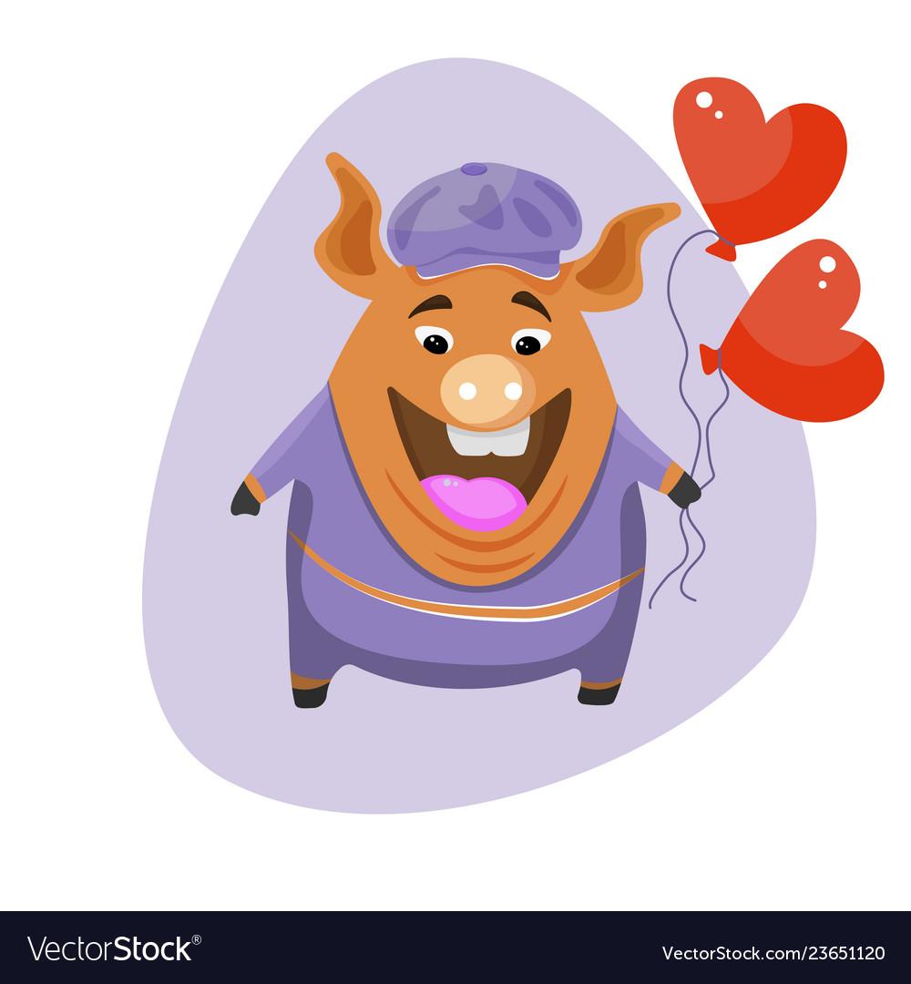 A cute cartoon pig holding a balloon in the shape