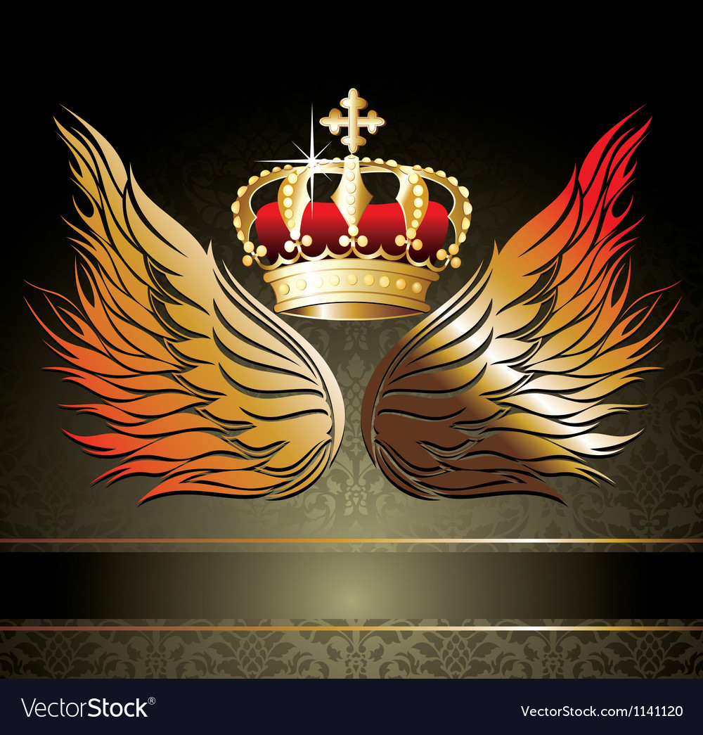 Abstract background with crown and wings
