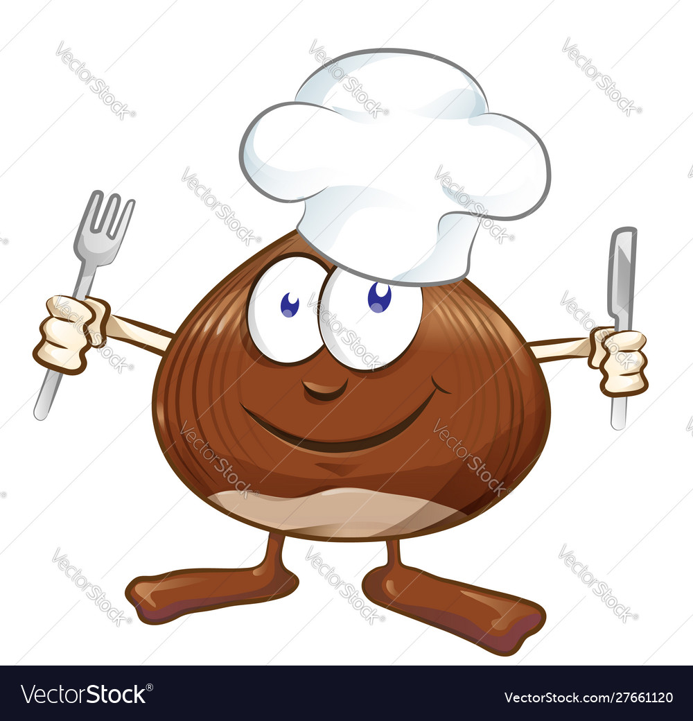 Chestnut cartoon chef isolated on white mascot