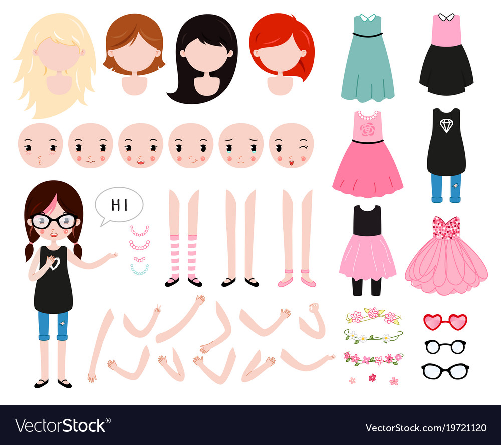 Cute girl character constructor modern hipster