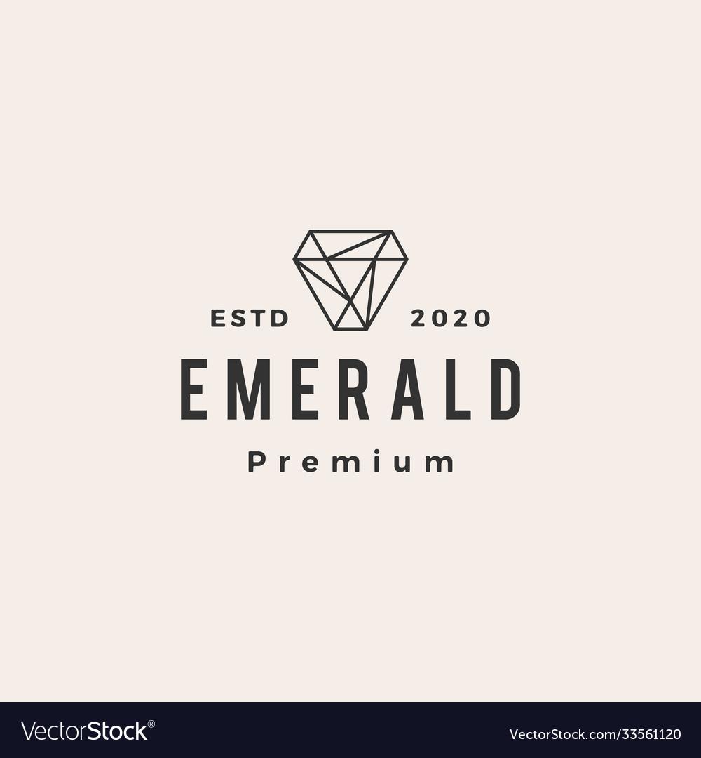 Emerald gem hipster vintage logo icon